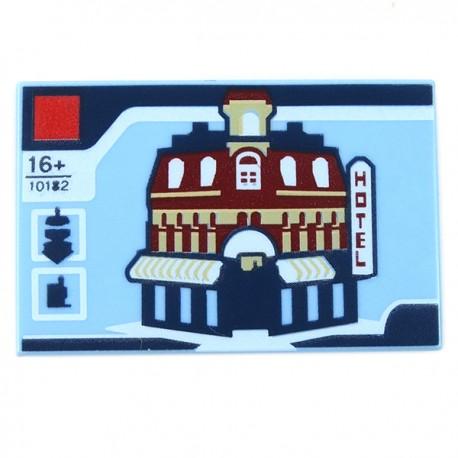 LEGO Accessoires Minifigure - Tile 2x3 - Cafe Corner Boite Lego '10182' 'HOTEL'- Tile 2x3 (Bright Light Blue)