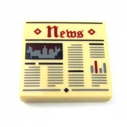 """LEGO Accessoires Minifigure - Tile 2x2 - Journal """"News"""" (Beige)"""