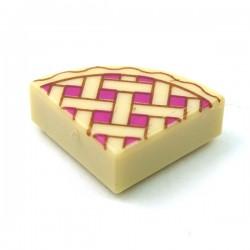 LEGO Minifigure Accessories - Tan Tile, Round 1x1 Quarter - Lattice Pie