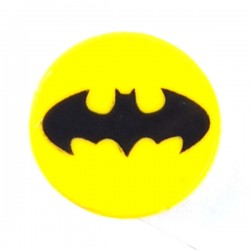 LEGO Minifigure Accessories - Yellow Tile Round 2x2 Black Bat Batman Logo