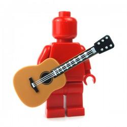 LEGO Minifigure Accessories - Medium Dark Flesh Minifig, Utensil Guitar Acoustic, Black Neck & Silver Strings