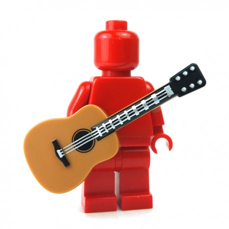 LEGO Accessoires Minifigure - Guitare acoustique (Medium Dark Flesh)