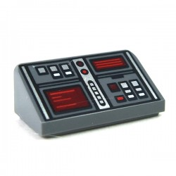 LEGO Minifigure Accessories - Dark Bluish Gray Slope 30 1x2x2/3 - Red & White Buttons & 2 Red Screens