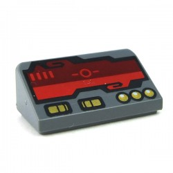 LEGO Minifigure Accessories - Dark Bluish Gray Slope 30 1x2x2/3 - Dark Red Horizon Screen & Gold Switches & Buttons