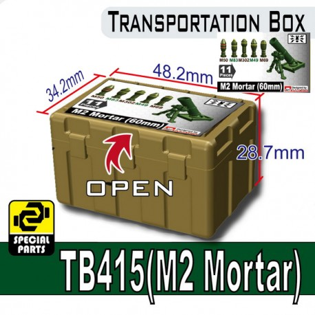 Lego Minifigure Accessoires Militaire Armée Si-Dan Toys - Transportion Box TB415 (Vert Militaire - M2 Mortar)