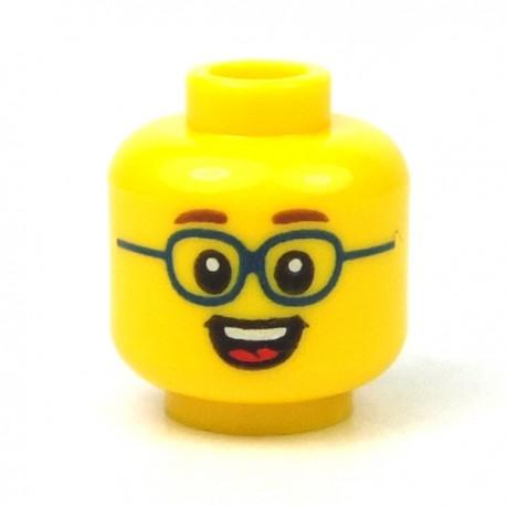 Lego - Yellow Minifig, Head Reddish Brown Eyebrows, Dark Blue Glasses, Open Smile Showing Teeth & Tongue