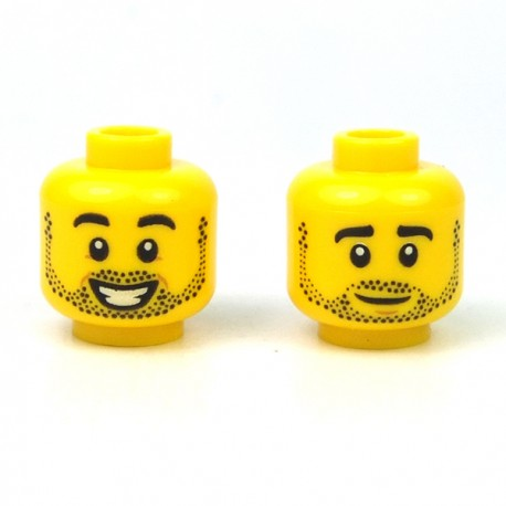 LEGO® - Yellow Minifig, Head Dual Sided Black Eyebrows & Stubble, Smiling / Neutral Expression