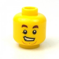 LEGO® - Yellow Minifig, Head Dark Brown Eyebrows, Lopsided Grin, Medium Dark Flesh Anchor Beard
