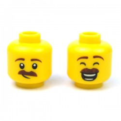 LEGO® - Yellow Minifig, Head Dual Sided Reddish Brown Eyebrows & Moustache, Large Smile with Eyes Closed / Smirk