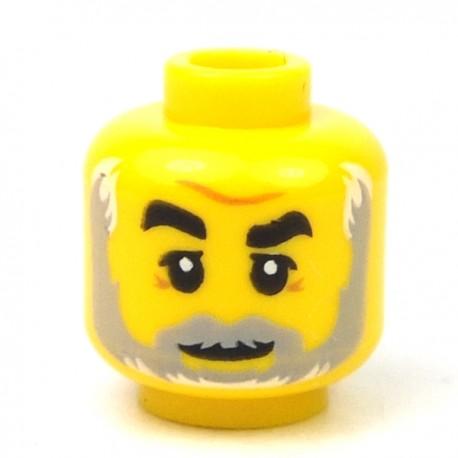 LEGO® - Yellow Minifig, Head Dark Brown Eyebrows, Lopsided Grin, Medium Dark Flesh Anchor Beard