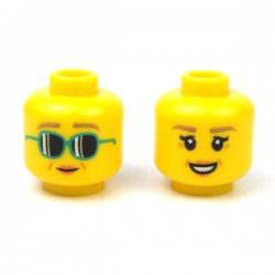 LEGO® - Yellow Minifig, Head Dual Sided Female Black Eyebrows, Peach Lips, Smirk / Smile with Mud Splotches