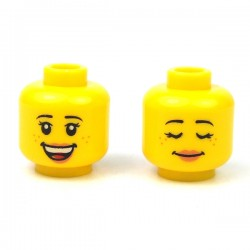 LEGO® - Yellow Minifig, Head Dual Sided Female Black Eyebrows, Freckles, Eyelashes, Open Smile with Teeth / Sleeping