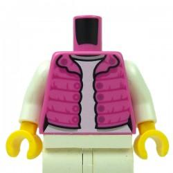 LEGO® - Dark Pink Torso Female Vest with Magenta Gathers, Silver Snaps, White Shirt