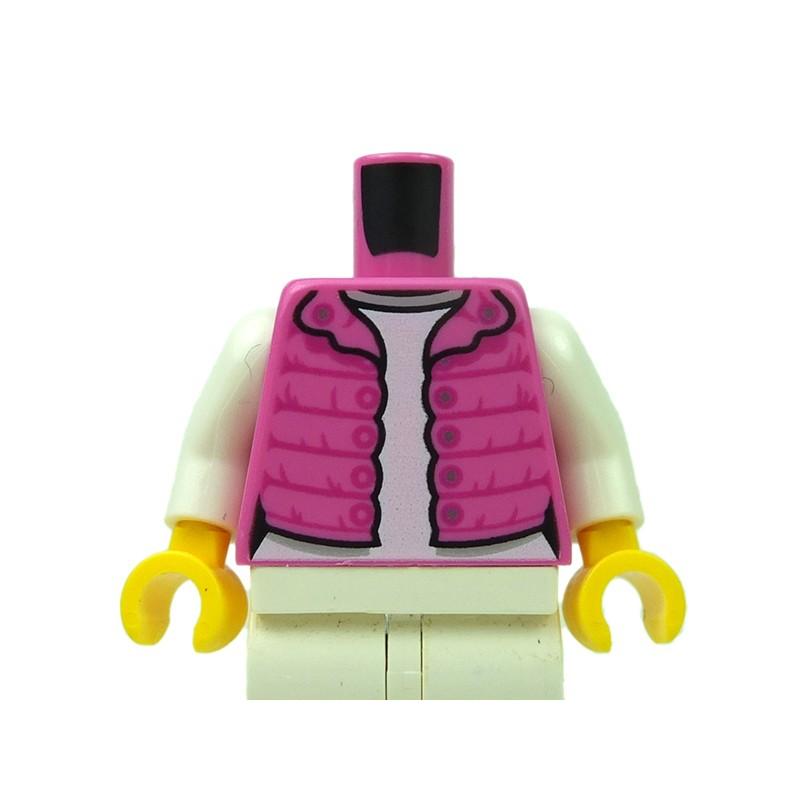 Loose LEGO White Sports Jacket Over Pink Shirt Loose Torso
