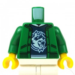 LEGO® - Green Torso Jacket over Dark Blue Shirt with White Collar & Raccoon Logo