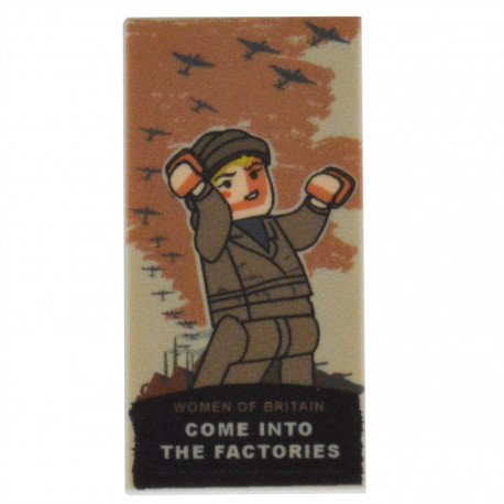 United Bricks - WW2 Factory Worker Poster Tile 2x4 Lego