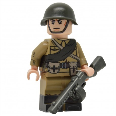 United Bricks - WW2 Soviet Infantry with M35 Gymnastyorka (PPSh-41) Minifigure