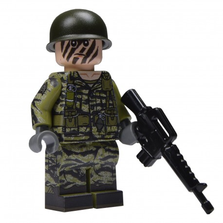 United Bricks -US Soldier in Tigerstripe Camo Olive Green Minifigure