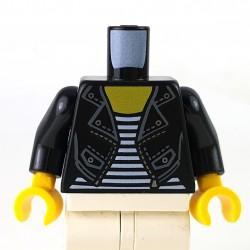LEGO® - Torse Veste en cuir noir pour femme avec boutons pressions