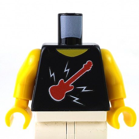 LEGO® - Black Torso Sleeveless Top w/ Red Guitar, Lightning Bolts & TOUR on Back