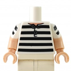 LEGO® - White Torso Shirt, 5 Black Stripes Pattern / Light Nougat Arms with White Short Sleeves with 2 Black Stripes