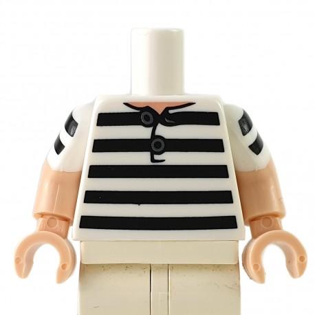 LEGO® - White Torso Shirt, 5 Black Stripes Pattern / Light Nougat Arms with White Short Sleeves with 2 Black Stripes