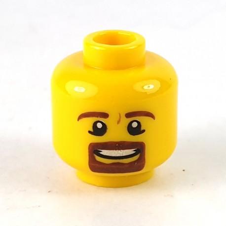 LEGO® - Yellow Minifigure, Head Male Brown Beard & Eyebrows, Goatee