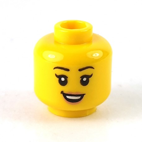 LEGO® - Yellow Minifig, Head Dual Sided Female Black Eyebrows, Freckles, Eyelashes, Open Smile with Teeth / Sleeping