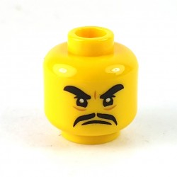 LEGO® - Yellow Minifigure, Head Black Thick Eyebrows, Moustache, Angry Expression