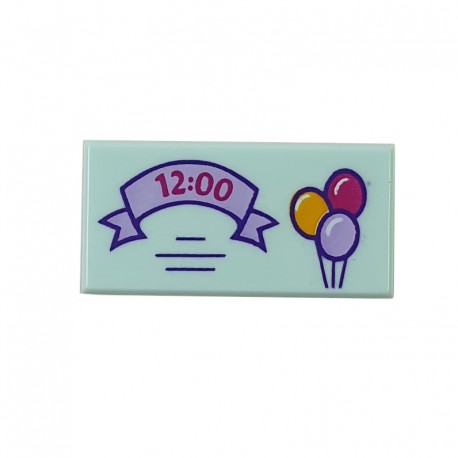 LEGO® Light Aqua Tile 1x2 Lavender Ribbon with '12:00' & 3 Balloons