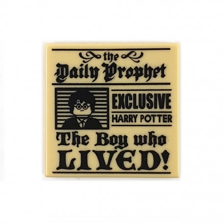 """LEGO Tile 2x2 - Journal """"Daily Prophet"""" 'The Boy who LIVED!' (Beige)"""
