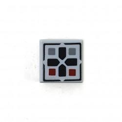 LEGO® Light Bluish Gray Tile 1x1 Black Cross & Dark Red & Dark Bluish Gray Buttons