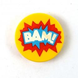 """LEGO® Tile Rond 2x2 - """"BAM !"""" motif d'explosion en étoile (Jaune)"""