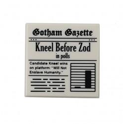 LEGO® White Tile 2x2 Newspaper 'Gotham Gazette Kneel Before Zod in Polls'