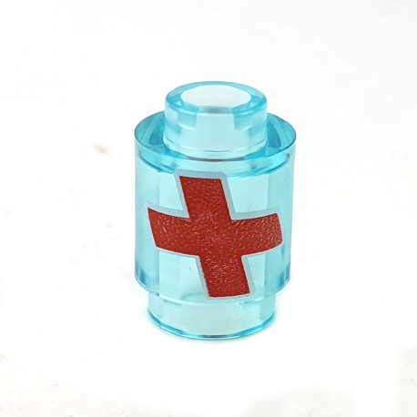 LEGO® Trans-Light Blue Brick Round 1x1 Red Cross w/ White Outline (Overwatch Health Pack)