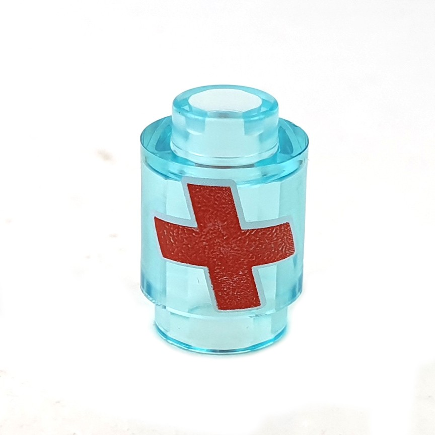 Lego New Trans-Light Blue Bricks Round 1 x 1 Open Stud with Red Cross with White