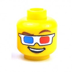 Custom Bricks - 3D Glasses Head (Yellow)