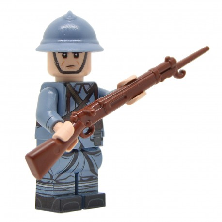 Lego United Bricks - WW1 Soldat Français (Milieu de la guerre) Minifigure