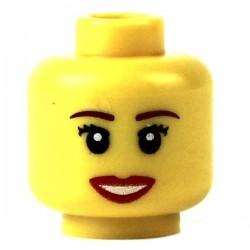 Lego Minifig Accessoires Tête féminine jaune, sourire bouche ouverte (La Petite Brique)