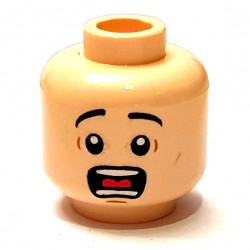 LEGO® - Light Flesh Minifig, Head Black Eyebrows, Wide Eyes, Open Mouth, Teeth and Tongue, Surprised