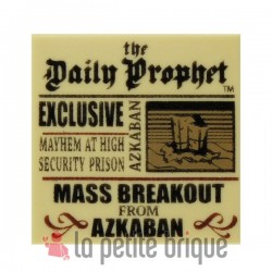Tan Tile 2 x 2 with Newspaper 'Daily Prophet' Pattern