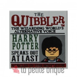 Light Bluish Gray Tile 2 x 2 with Newspaper 'THE QUIBBLER' Pattern