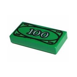 Tile 1 x 2 with 100 Dollar Bill Money Pattern
