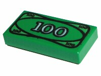Lego 1 x Minifig Green Tile 1 x 2 with 100 Money Pattern for Minifigure