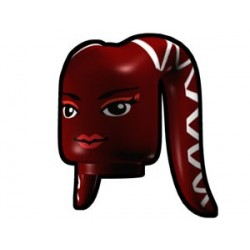 Dark Red Tentacle Head with Face Pattern