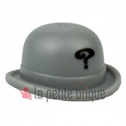 Headgear Hat, Bowler with Black Question Mark Pattern