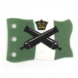 Flag green with white stripe, cannons, crown