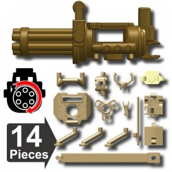 Lego Si-Dan Minifig Custom Mini-gun + Multifunctional Tripod + backpack (Dark Tan) (La Petite Brique)