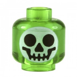 Minifig, Head with Round Black on White Skull Pattern (Witch's Bottle)