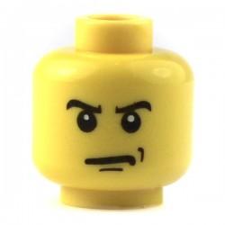 Lego Accessoires Minifig Tête masculine jaune, en colère sourcils et grimace, pupilles blanches (La Petite Brique)